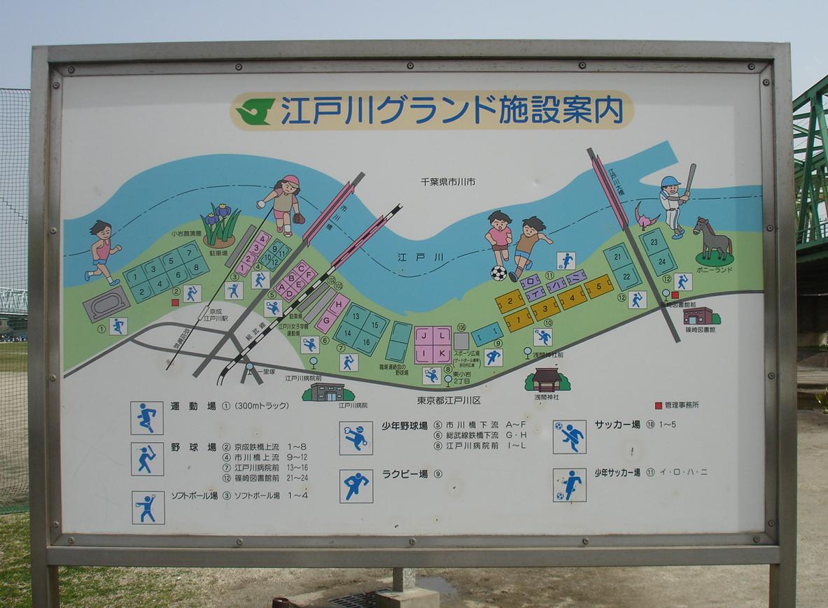 江戸川グラウンド案内板
